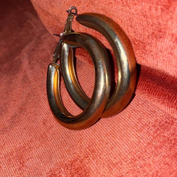 Vintage Gold Tone Wide  Hoop Earrings